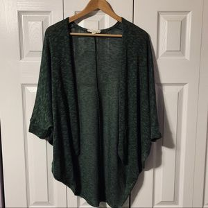 Green Cowl Knit Open Drapey cardigan medium